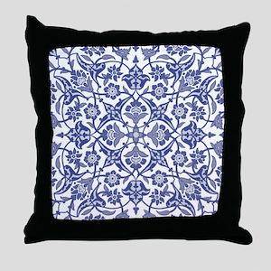 Indigo Blue Vintage flora design Throw Pillow