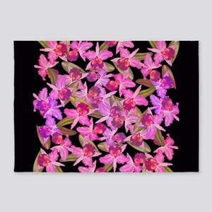 Orchid Flowers 5'x7'Area Rug