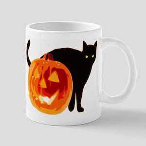 HALLOWEEN BLACK CAT AND PUMPKIN Mugs