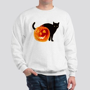 HALLOWEEN BLACK CAT AND PUMPKIN Sweatshirt