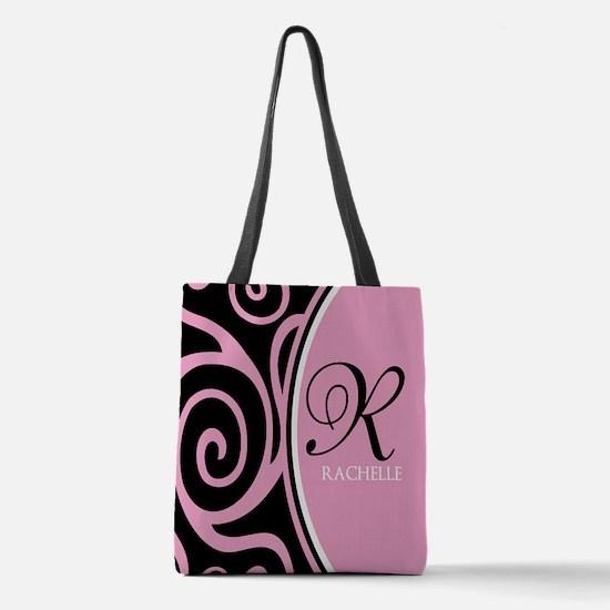 Elegant Black Pink Swirls Monogram Polyester Tote