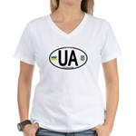 Ukraine Intl Oval Women's V-Neck T-Shirt