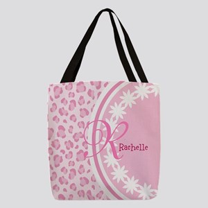 Stylish Pink and White Monogram Polyester Tote Bag