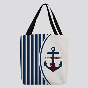 Anchor and Stripes Monogram Polyester Tote Bag