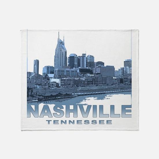 Nashville Tennessee Skyline Throw Blanket