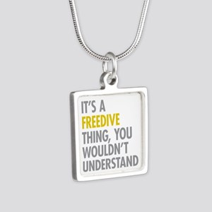 Its A Freedive Thing Silver Square Necklace