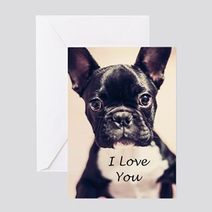 I Love You French Bulldog Greeting Cards
