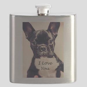 I Love You French Bulldog Flask