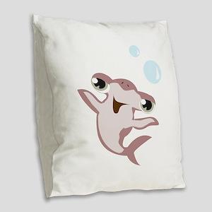 Happy Hammerhead Shark Burlap Throw Pillow