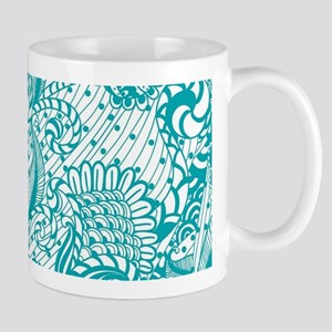 White And Turquoise Retro Floral Design Mugs