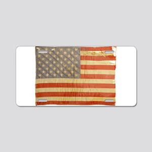 Vintage Flag Aluminum License Plate