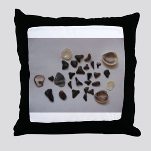 Fossilized Sharks Teeth And Shells Throw Pillow