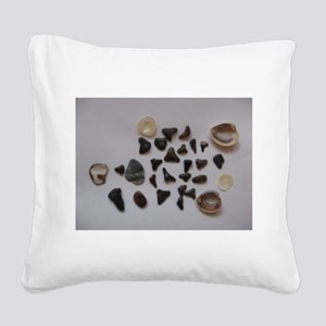 Fossilized Sharks Teeth And Shells Square Canvas P