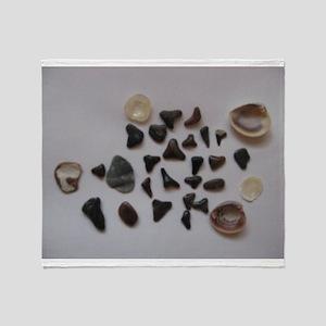 Fossilized Sharks Teeth And Shells Throw Blanket