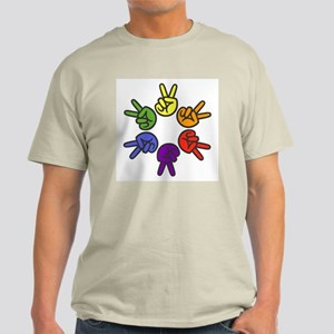 Peace Sign Fingers Light T-Shirt
