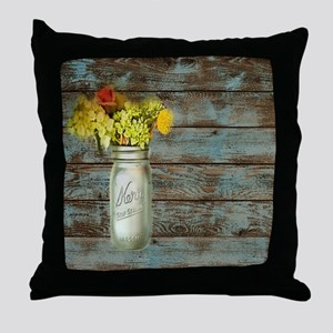 mason jar floral barn wood western co Throw Pillow