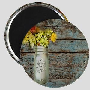 mason jar floral barn wood western country  Magnet