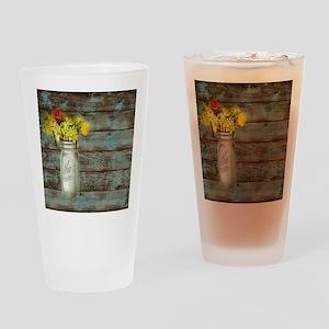 mason jar floral barn wood western  Drinking Glass