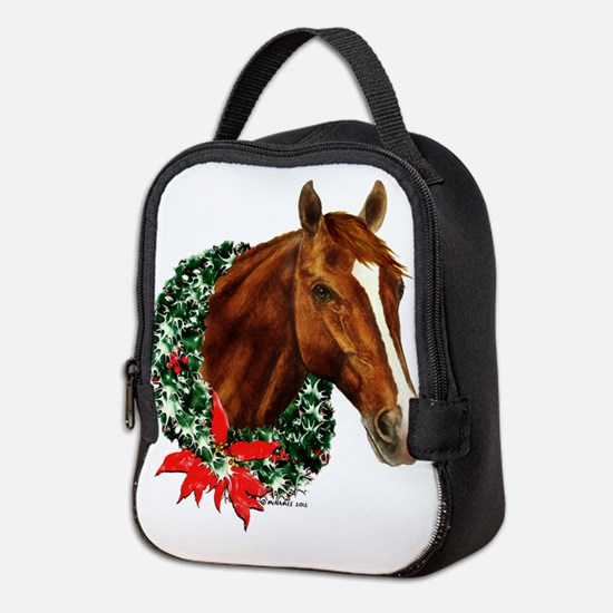 Christmas Holiday Horse Neoprene Lunch Bag