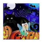 FAIRY CAT PUMPKIN HALLOWEEN Tile Coaster