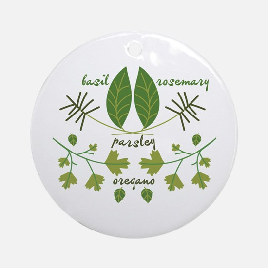 Various Herbs Ornament (Round)