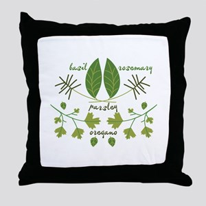 Various Herbs Throw Pillow