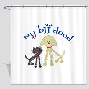 Best Friends Cat DoodleDog Shower Curtain