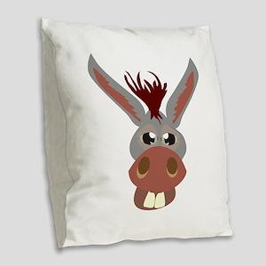 Donkey Face Burlap Throw Pillow