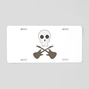 Skull & Guitar Bones Aluminum License Plate
