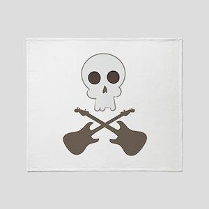 Skull & Guitar Bones Throw Blanket