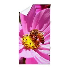 Bee on a Wildflower clla Beach Towel
