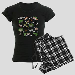 Sushi Characters Pattern Women's Dark Pajamas