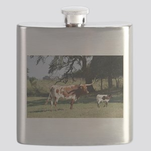 Longhorn Cow and Calf Flask