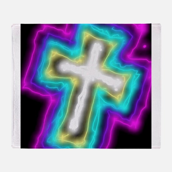 Electrifying Cross Throw Blanket