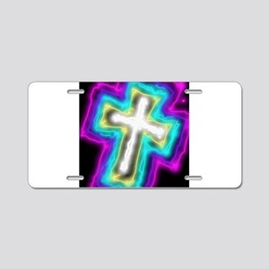 Electrifying Cross Aluminum License Plate