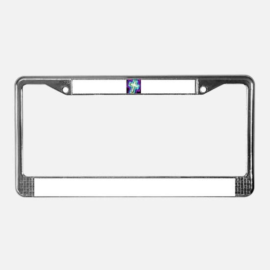 Electrifying Cross License Plate Frame