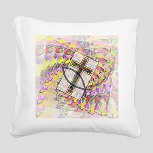 The Cross and the Fish. Square Canvas Pillow