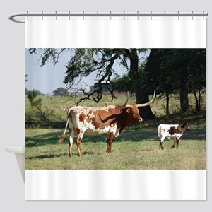 Longhorn Cow and Calf Shower Curtain