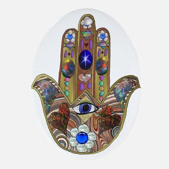 Hamsa Opal Design Ornament (Oval)