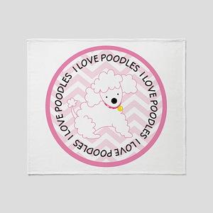 I Love Poodles cute Throw Blanket
