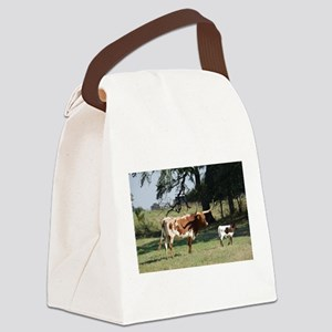 Longhorn Cow and Calf Canvas Lunch Bag