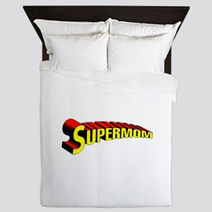 SupermomTransparentBKG Queen Duvet
