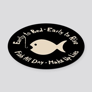 Early Fish Lies Oval Car Magnet