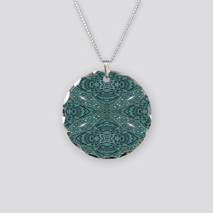 metallic tooled leather west Necklace Circle Charm