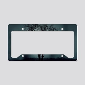 Spooky Tree Tree Silhouette  License Plate Holder
