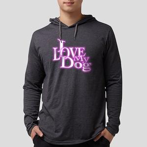 I Love My Dog Mens Hooded Shirt