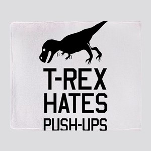 T-Rex Hates Push-Ups Throw Blanket