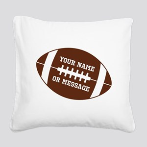 YOUR NAME Football Square Canvas Pillow
