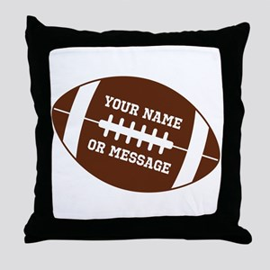 YOUR NAME Football Throw Pillow