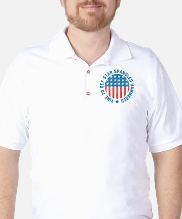 Time To Get Star Spangled Hammered Golf Shirt